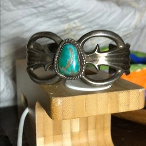 Vintage SS/turquoise Sand casted Navajo cuff